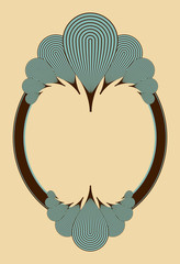 oval frame with feathers ornament in blue and brown