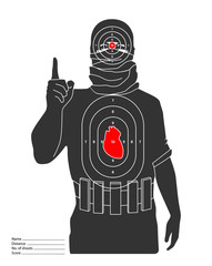 Islamic terrorist as target on shooting range