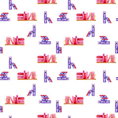 Seamless pattern with watercolor books, hand painted isolated on a white background