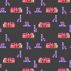 Seamless pattern with watercolor books, hand painted isolated on a dark background