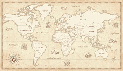 Wall Mural - Vintage Illustrated World Map