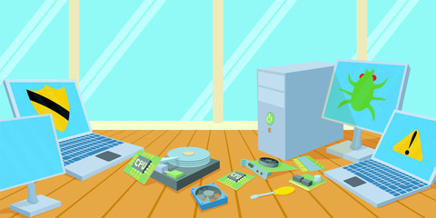 Computers repair horizontal banner, cartoon style