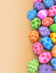 3d render illustration. Many multicolored  Easter eggs on a beige background.
