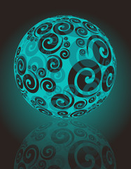 cristal ball with spirals in blue