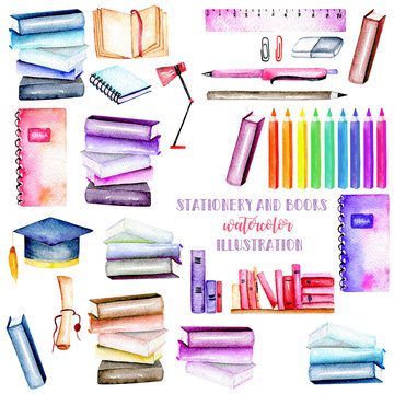 Set, collection of watercolor stationery objects, hand painted isolated on a white background