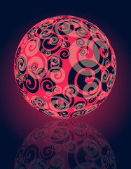 cristal ball with spirals in red