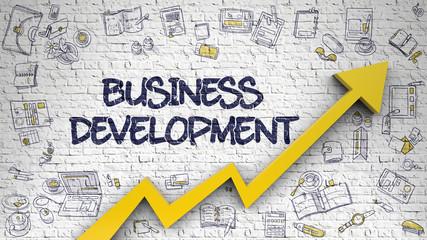 Business Development Drawn on White Brickwall. 3d.