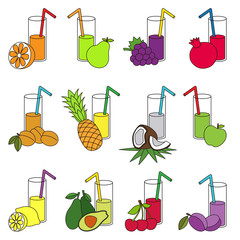 Set of fruit juices colorful.