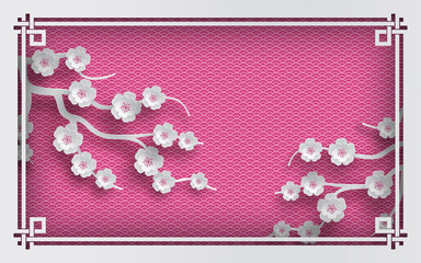 Floral background with oriental frame on pink pattern backdrop and cherry flowers for greeting card, paper cut out style. Vector illustration, layers are isolated