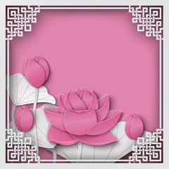 Abstract chinese square frame with floral pink background, lotus flowers, oriental pattern and space for title text. Vector illustration, paper cut out art style. Layers are isolated