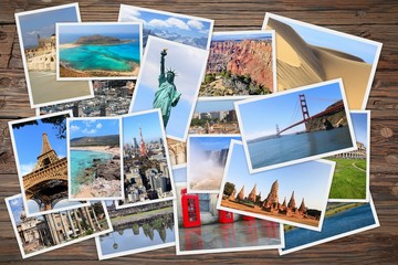 World travel photo stack