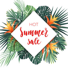 Bright summer sale design with tropical plants, palm leaves and guzmania flowers.
