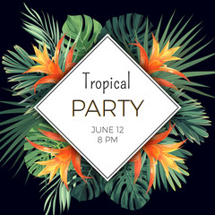Summer party flyer design with tropical flowers and plants on the dark background.