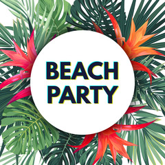 Bright vector floral banner template for summer beach party. Tropical flyer with green exotic palms and red flowers.