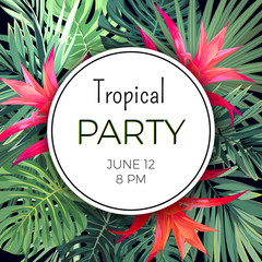Customizable vector floral design template for summer party. Tropical flyer with green exotic plants and red flowers.