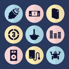 Set of 9 electronic filled icons