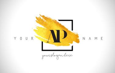 AP Golden Letter Logo Design with Creative Gold Brush Stroke