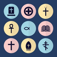 Set of 9 christ filled icons