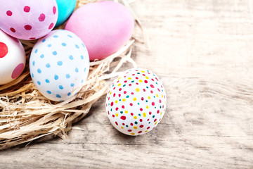 Easter background with eggs and copyspace. Happy Easter!.