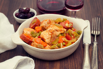 chicken stew with vegetables in dish