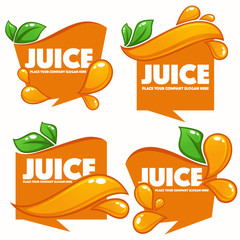 vector collection of bright and shine  stickers, emblems and banners for orange fresh juice