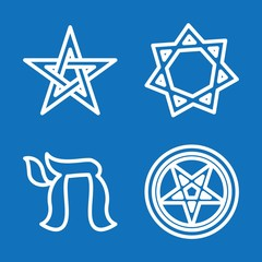 Set of 4 judaism outline icons