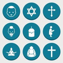 Set of 9 spiritual filled icons