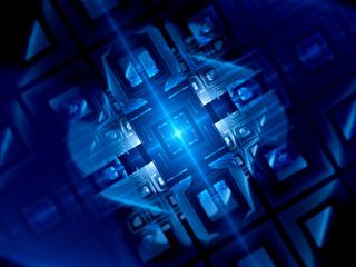 Blue glowing quantum computer