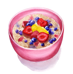 oatmeal with berries and fruits, watercolor painting,  healthy breakfast, for menu, cafe, recipe design