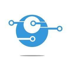 Digital circle vector logo template