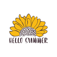 Hello summer. Sunflower. Isolated vector object on white background.