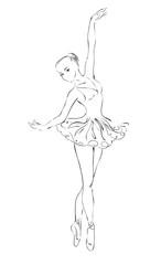 The sketch of the ballerina in dance