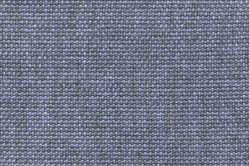 Blue textile background with checkered pattern, closeup. Structure of the fabric macro.