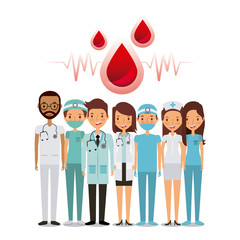 blood drops and professional medical people over white background. colorful design. vector illustration