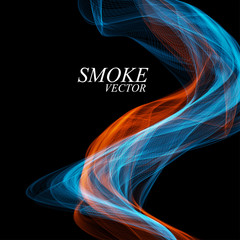 Abstract colorful smoke isolated on black background. Vector