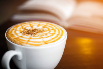 Cup of cappuccino in coffee shop