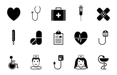 Gesundheit und Medizin - Icon-Set (in Schwarz)