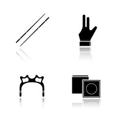 Billiard accessories drop shadow black icons set