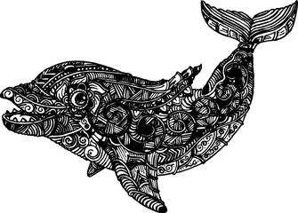 hand drawing dolphin ornate illustration