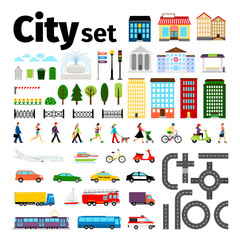 City elements isolated on white background. Urban transport and roads, buildings people life vector illustration