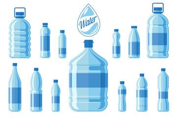 Plastic water bottle set isolated on white background. Healthy agua bottles vector illustration