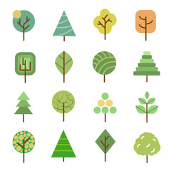 Wall Mural - Linear flat vector trees. Nature forest design icons with geometric shapes