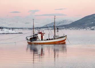 Fishing schooner in the fjord - Lofoten islands, Norway