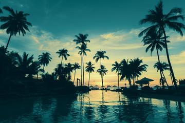 Tropical sea beach at beautiful twilight.