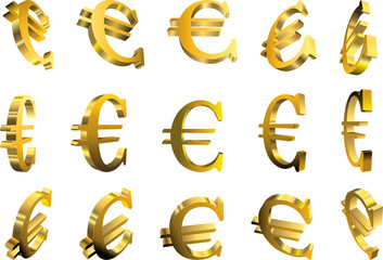 3d illustration of a rotated euro symbol