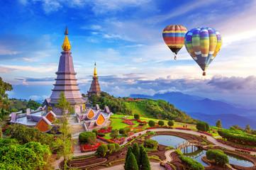 Wall Mural - Landmark pagoda in doi Inthanon national park with Balloon at Chiang mai, Thailand.