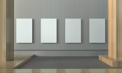 Gallery exhibition clean and minimal picture frame contemporary wall / Creative minimal Empty Room