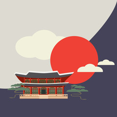 Building or Palace with east asian roof decoration. Japanese, Chinese or Korean roof styled building isolated. Gyeongbokgung Palace or Gyeongbok Palace made in flat design style. Seoul.
