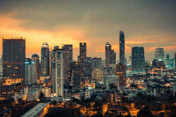 Bangkok city center downtown skyline while sunset.