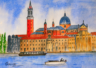 Italy. Watercolor painting of Venice gondolas in the lagoon in the background the island of San Giorgio Maggiore at summer day. Watercolor drawing. City sketch.